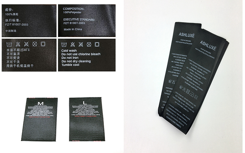 Black Laundry Care Label Supplier