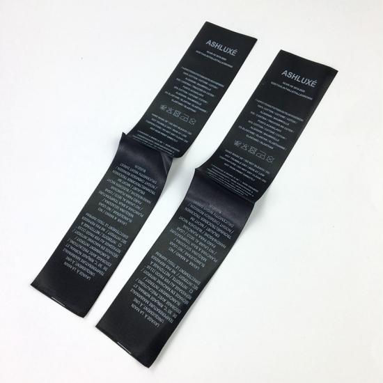 Black Wash Care Printed Satin Labels for Clothing