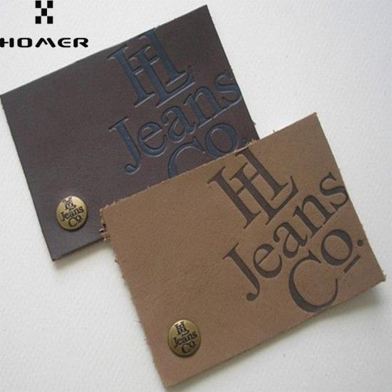 Embossed Logo Leather Patches